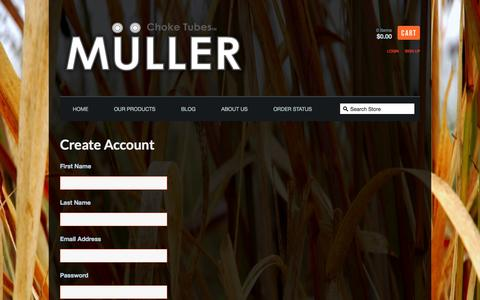 Screenshot of Signup Page mullerchokes.com - Muller Chokes — Create Account - captured Oct. 9, 2014
