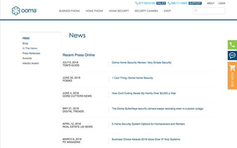 Screenshot of Press Page ooma.com - Press - Ooma In the News - captured July 12, 2018