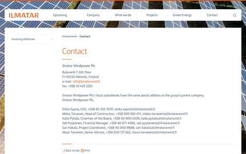 Screenshot of Contact Page ilmatarwind.fi - Contact - Ilmatarwind - captured Oct. 14, 2017