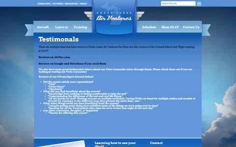 Screenshot of Testimonials Page greatlakesairventures.com - Testimonals | Great Lakes Air Ventures - captured Sept. 30, 2014