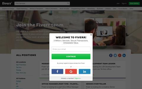 Screenshot of Jobs Page fiverr.com - Jobs at Fiverr - captured Oct. 29, 2016