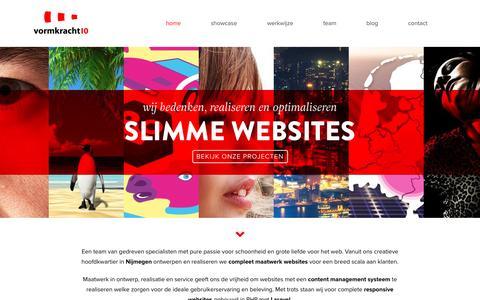 Screenshot of Home Page vormkracht10.nl - Webdesign Nijmegen - Vormkracht10 - captured Aug. 14, 2016