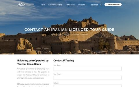 Screenshot of Contact Page irtouring.com - Contact An Iranian Licenced Tour Guide - captured Nov. 11, 2016