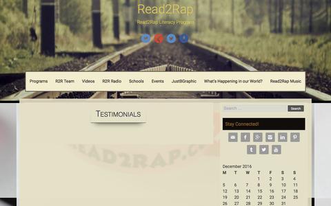 Screenshot of Testimonials Page read2rap.com - Testimonials – Read2Rap - captured Dec. 15, 2016