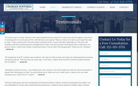 Screenshot of Testimonials Page cjalaw.com - Testimonials - Charles Juntikka & AssociatesCharles Juntikka & Associates - captured June 22, 2018