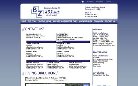 Screenshot of Contact Page Maps & Directions Page banszog.com - Bansbach Zoghlin P.C. Attorneys at Law | Contact Us - captured Oct. 5, 2014