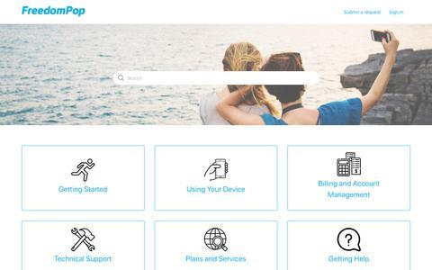 Screenshot of Support Page freedompop.com - FreedomPop - captured Sept. 30, 2019