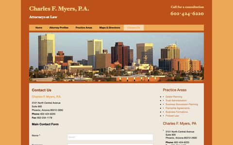Screenshot of Contact Page cfmlaw.com - Phoenix Law Firm, Charles F. Myers, P.A. | Contact Us - captured Sept. 27, 2018
