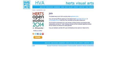 Screenshot of Signup Page hvaf.org.uk - Hertfordshire Visual Arts (HVA) - Membership - Join - captured Oct. 3, 2014