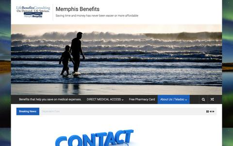 Screenshot of Contact Page memphisbenefits.com - Providing a range of health-related services, including24/7 virtual access to physicians, - captured Dec. 10, 2018