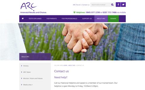 Screenshot of Contact Page arc-uk.org - Contact us | ARC supports parents throughout antenatal testing and its consequences - captured Oct. 4, 2014