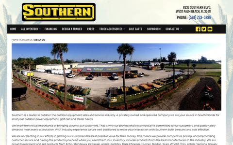 Screenshot of About Page southernlawnequip.com - About Us | Southern Lawn Equipment | West Palm Beach, FL Trailer Dealer and Lawn Equipment Dealer near Miami - captured Oct. 20, 2018
