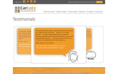 Screenshot of Testimonials Page carlotz.com - Client Testimonials | CarLotz - captured June 16, 2015