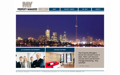 Screenshot of Home Page mypropertymanagers.ca - My Property Managers - captured Oct. 7, 2014