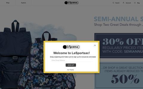 Screenshot of Home Page lesportsac.com - LeSportsac | Water Resistant Ripstop Weekenders, Handbags, & More - captured July 16, 2018