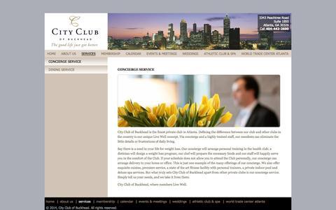Screenshot of Services Page cityclubofbuckhead.com - Concierge Service - captured Sept. 29, 2014