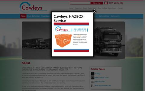 Screenshot of About Page cawleys.co.uk - Waste management from Cawleys, an award winning business - captured Sept. 27, 2018