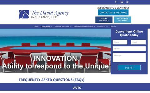 Screenshot of FAQ Page thedavidagency.com - The David Agency Insurance | Elmhurst, IL - captured Oct. 19, 2018