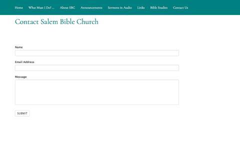 Screenshot of Contact Page salembible.org - Contact Us – Salem Bible Church - captured July 3, 2018