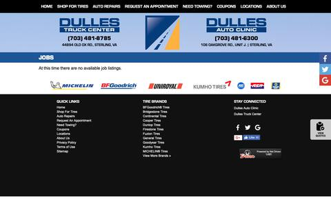 Screenshot of Jobs Page dullesautoclinic.com - Sterling, VA Tires Shop Jobs :: Dulles Auto Clinic - captured Oct. 9, 2018