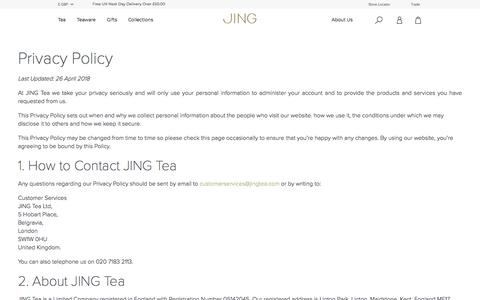 Screenshot of Privacy Page jingtea.com - Privacy Policy | Secure | GPDR Complient | JING Tea - captured Nov. 13, 2019