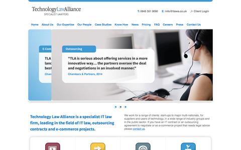 Screenshot of Home Page technologylawalliance.co.uk - Technology Law Alliance: IT Law, E-commerce Law & Outsourcing Law Specialists - captured Oct. 1, 2014