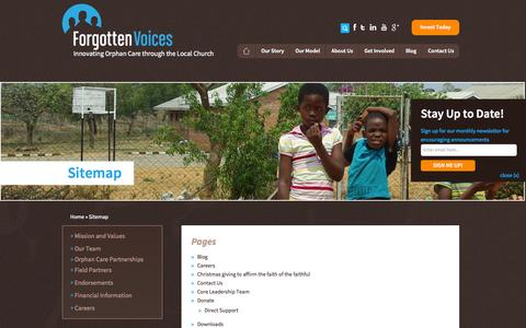 Screenshot of Site Map Page forgottenvoices.org - Sitemap - - captured Sept. 30, 2014