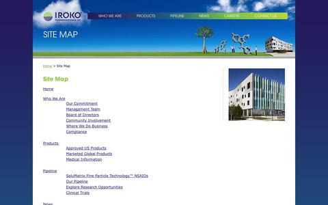 Screenshot of Site Map Page iroko.com - Site Map |     Iroko Pharmaceuticals - captured Sept. 16, 2014
