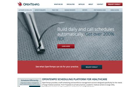 Screenshot of Home Page opentempo.com - Medical Scheduling of Doctors and Nurses - OpenTempo - captured Sept. 30, 2014