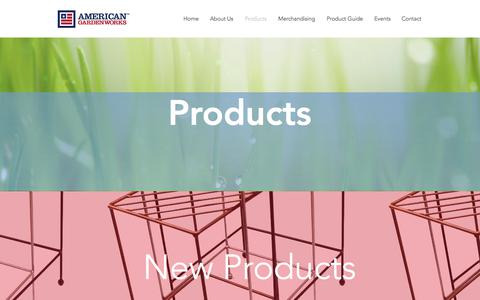 Screenshot of Products Page americangardenworks.com - Products - captured Oct. 8, 2017