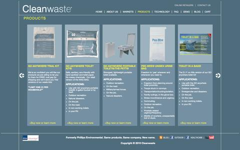 Screenshot of Products Page cleanwaste.com - Products - captured Sept. 30, 2014