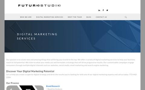 Screenshot of Services Page futurostudio.com - Digital Marketing Services - Futuro Studio - captured Jan. 8, 2016