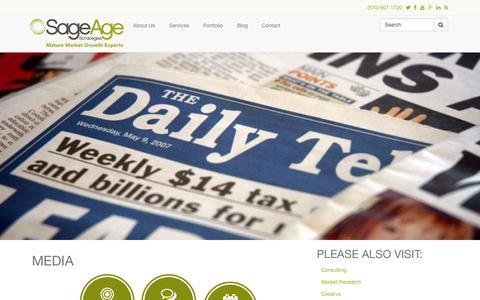 Screenshot of Press Page sageagestrategies.com - Media | Sage Age Strategies - captured Oct. 29, 2014