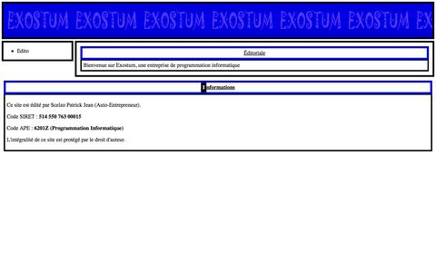 Screenshot of Home Page exostum.net - Exostum - exostum - Éditoriale - captured July 19, 2016