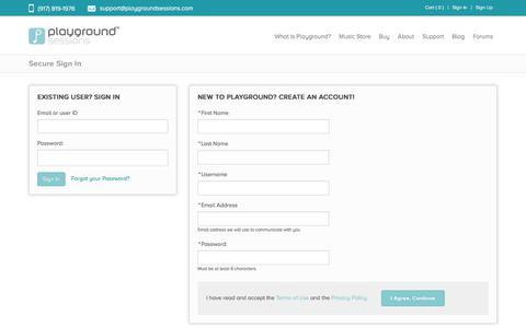 Screenshot of Login Page playgroundsessions.com - Login | Playground Sessions - captured July 14, 2016