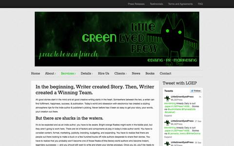 Screenshot of Services Page littlegreeneyedpress.com - Services - Little Green Eyed Press - captured Sept. 30, 2014