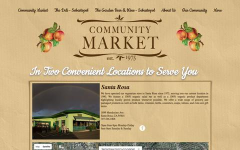 Screenshot of Locations Page srcommunitymarket.com - Community Market Santa Rosa & Sebastopol | Locations - captured Oct. 4, 2017