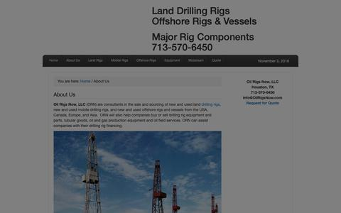 Screenshot of About Page oilrigsnow.com - About Oil Rigs Now   Drilling Rigs and Equipment Brokers - captured Nov. 19, 2018
