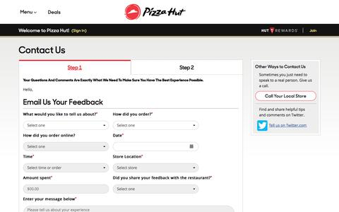 Screenshot of Contact Page pizzahut.com - Pizza Hut - Pizza Coupons, Pizza Deals, Pizza Delivery, Order Pizza Online, Catering - captured Oct. 21, 2017