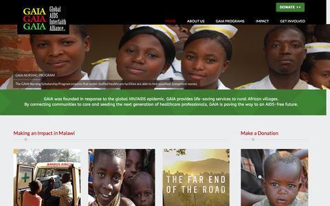Screenshot of Home Page thegaia.org - GAIA | Global AIDS Interfaith Alliance - captured Jan. 29, 2016