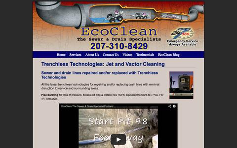Screenshot of Services Page ecoclean1.com - Trenchless Technologies: Jet and Vactor Cleaning - captured Oct. 1, 2014