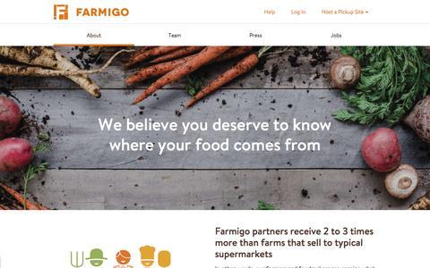 Screenshot of About Page farmigo.com - About | Farmigo - captured May 15, 2016