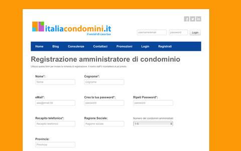 Screenshot of Signup Page italiacondomini.it - SITO PER AMMINISTRATORI DI CONDOMINIO | www.italiacondomini.it - captured Feb. 2, 2016