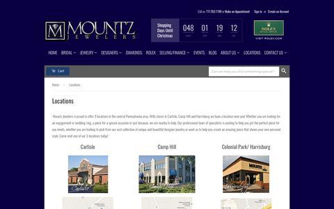 Screenshot of Locations Page mountzjewelers.com - Locations – Mountz - captured Nov. 7, 2017