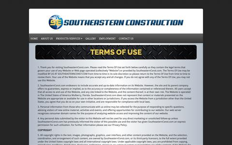 Screenshot of Terms Page southeasternconst.com - Terms of Use - Southeastern Construction | Southeastern Construction - captured Nov. 11, 2018