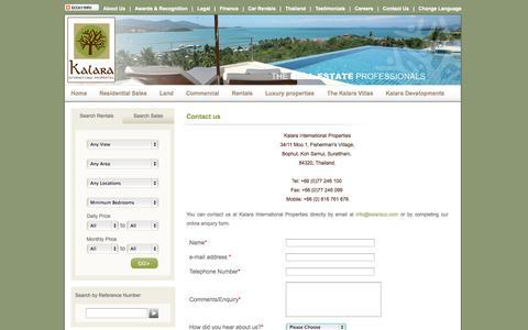Screenshot of Contact Page kalaraco.com - Contact Kalara International Properties | Koh Samui | Thailand - captured Oct. 6, 2014