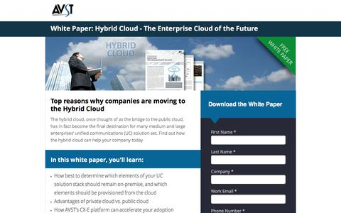 Screenshot of Landing Page avst.com - White Paper: Hybrid Cloud - The Enterprise Cloud of the Future - captured Oct. 30, 2016