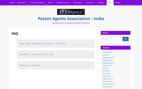 Screenshot of FAQ Page paai.org.in - FAQ – Patent Agents Association – India - captured Oct. 23, 2016