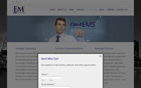 Screenshot of Services Page consultems.com - Managed Cloud Services - EMS Consulting - 813-496-7226 - captured Jan. 23, 2016