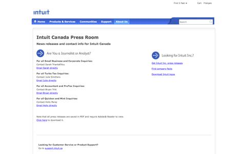 Screenshot of Press Page intuit.ca - Intuit News   Intuit® Canada - captured March 29, 2016